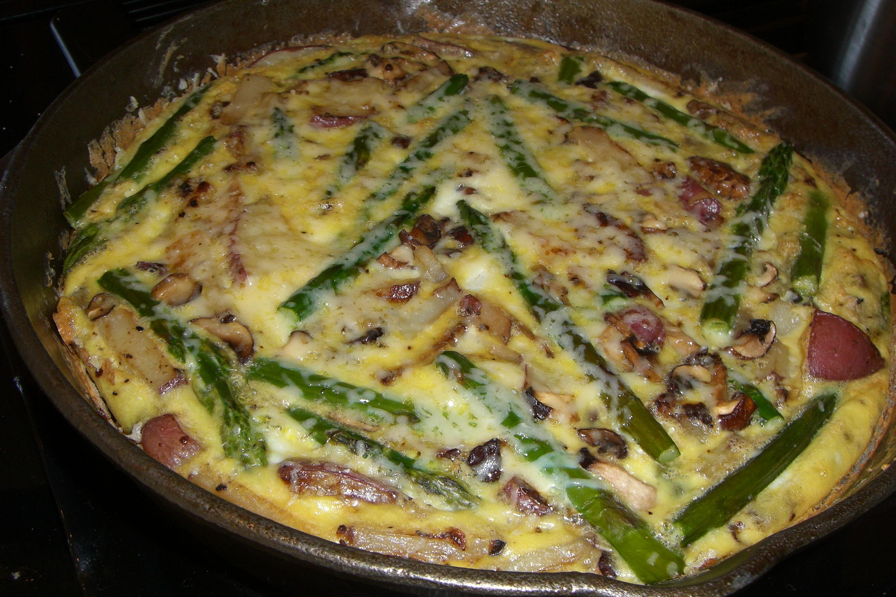 Potato-y, Mushroom-y Asparagus Frittata